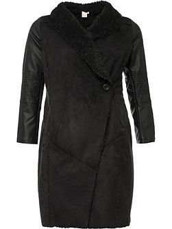 Curve Shearling Coat With Waterfall Front