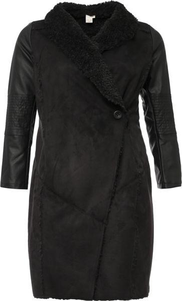 Lost Ink Curve Shearling Coat With Waterfall Front