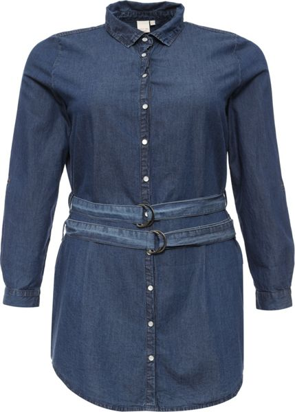 Lost Ink Curve Belted Denim Shirt