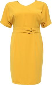 Lost Ink Curve Pencil Dress With Double Belt