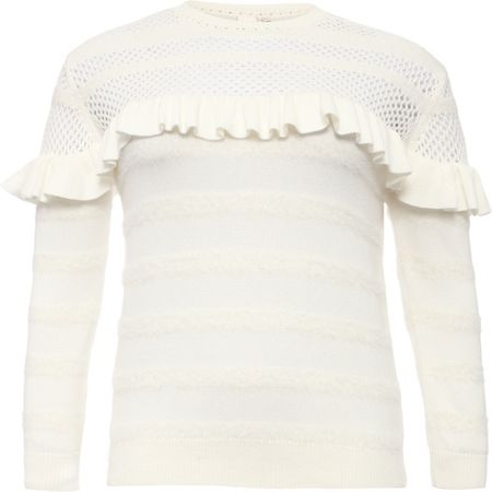 Lost Ink Curve Jumper With Pointelle And Ruffles