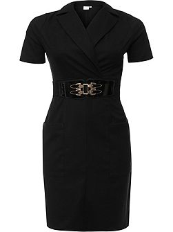 Curve Tailored Pencil Dress With Patent Belt