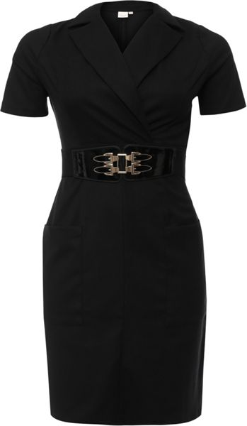 Lost Ink Curve Tailored Pencil Dress With Patent Belt