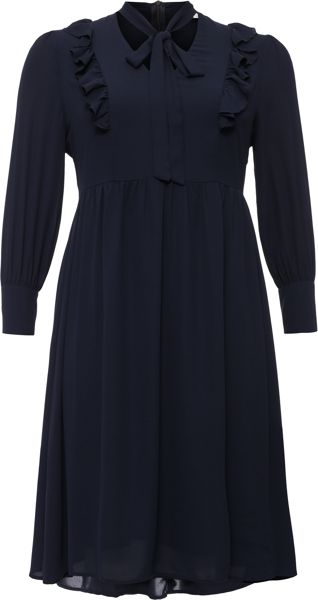 Lost Ink Curve Midi Dress With Tie Neck