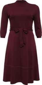 Lost Ink Curve Belted Dress With Full Skirt