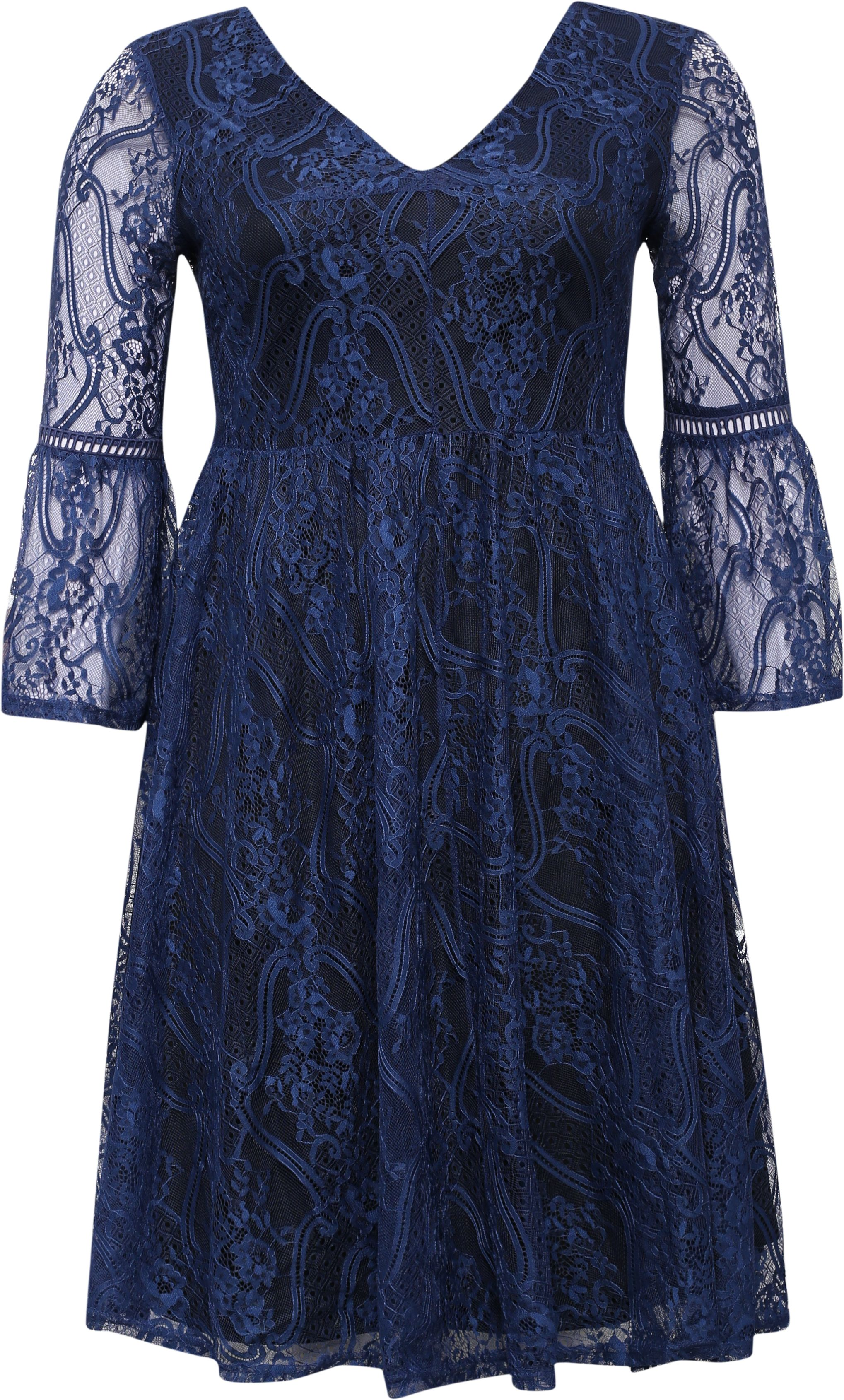 Lost Ink Curve Skater Dress With Lace Bell Sleeve, Blue