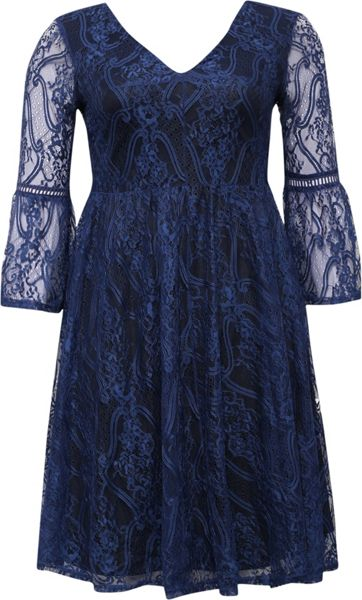 Lost Ink Curve Skater Dress With Lace Bell Sleeve