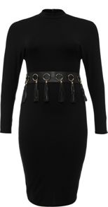 Lost Ink Curve High Neck Bodycon Dress With Tassle Belt