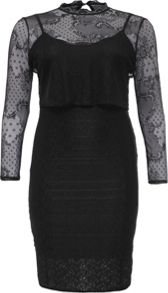 Lost Ink Curve Double Layer Lace Bodycon Dress