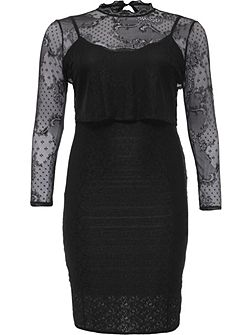 Curve Double Layer Lace Bodycon Dress
