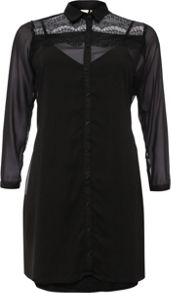 Lost Ink Curve Lace Insert Shirt Dress