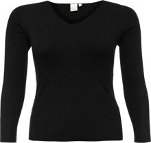 Lost Ink Curve V Neck Jumper In Lurex