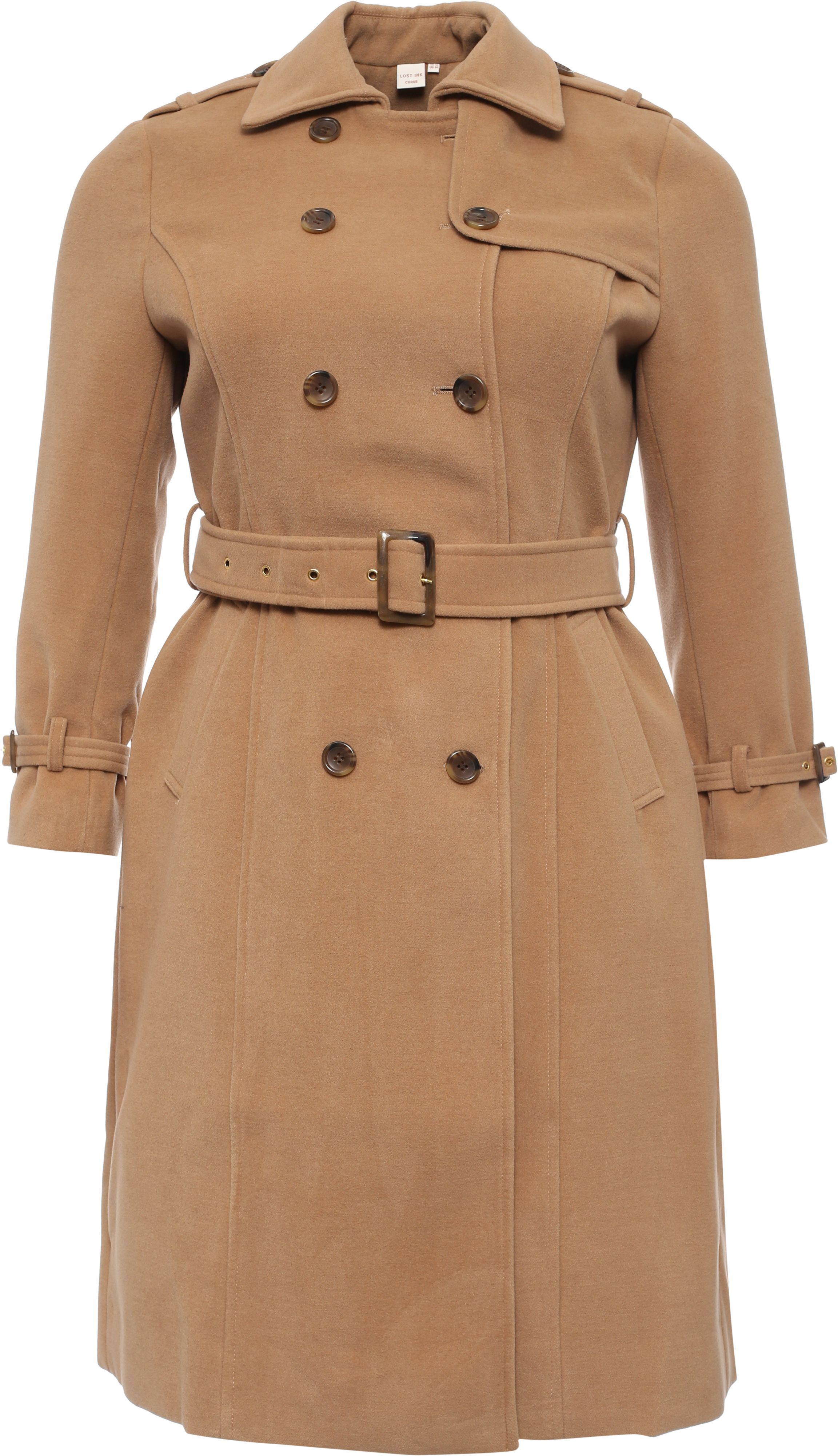 Lost Ink Curve Belted Trench In Wool Mix, White