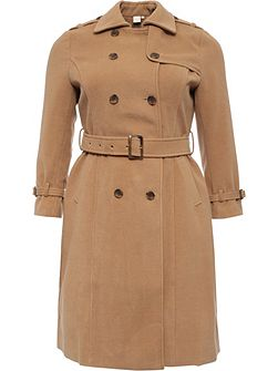 Curve Belted Trench In Wool Mix