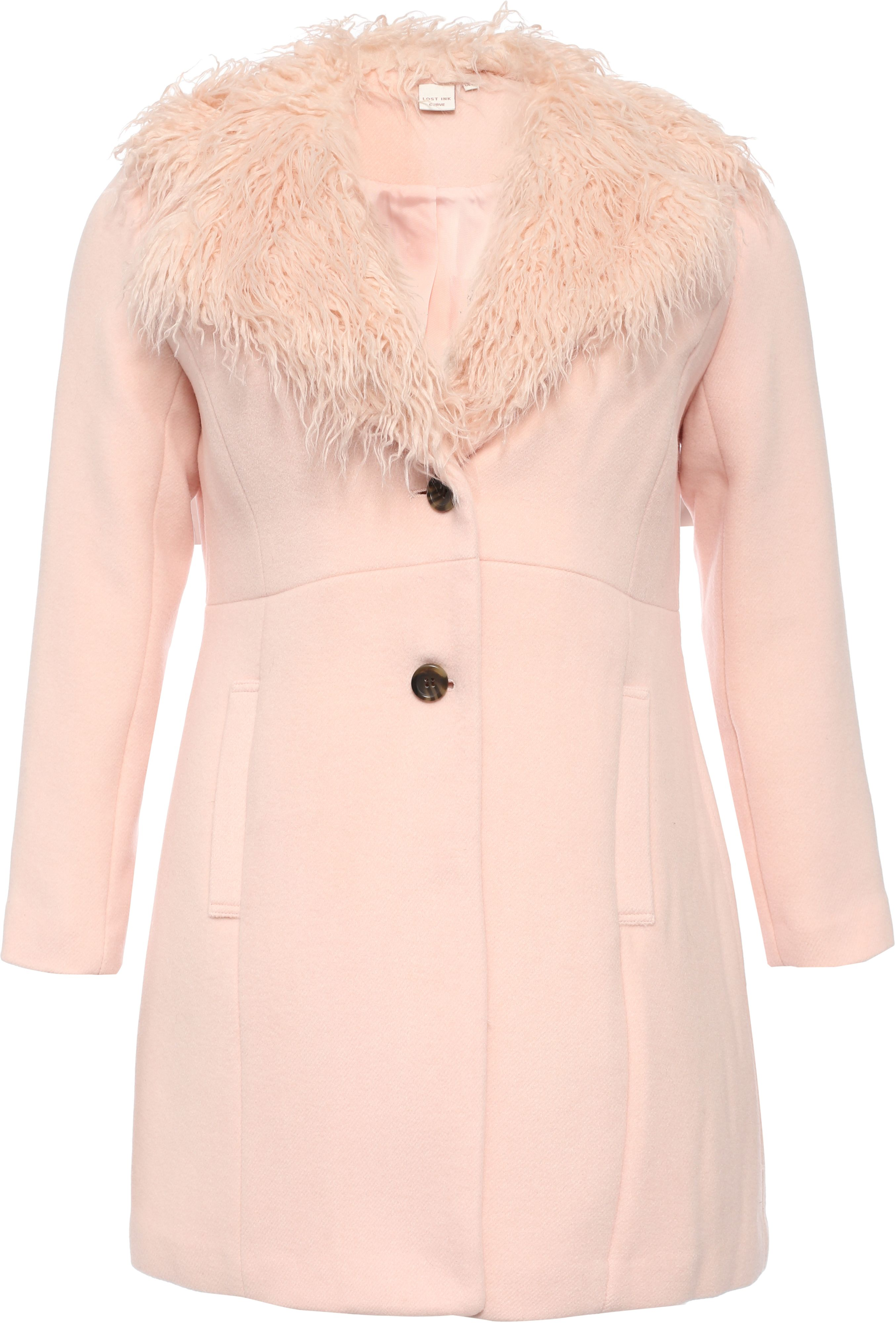 Lost Ink Curve Coat With Fur Collar, Pink