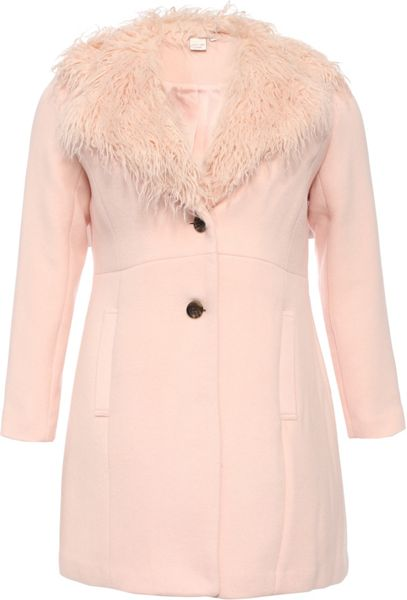 Lost Ink Curve Coat With Fur Collar