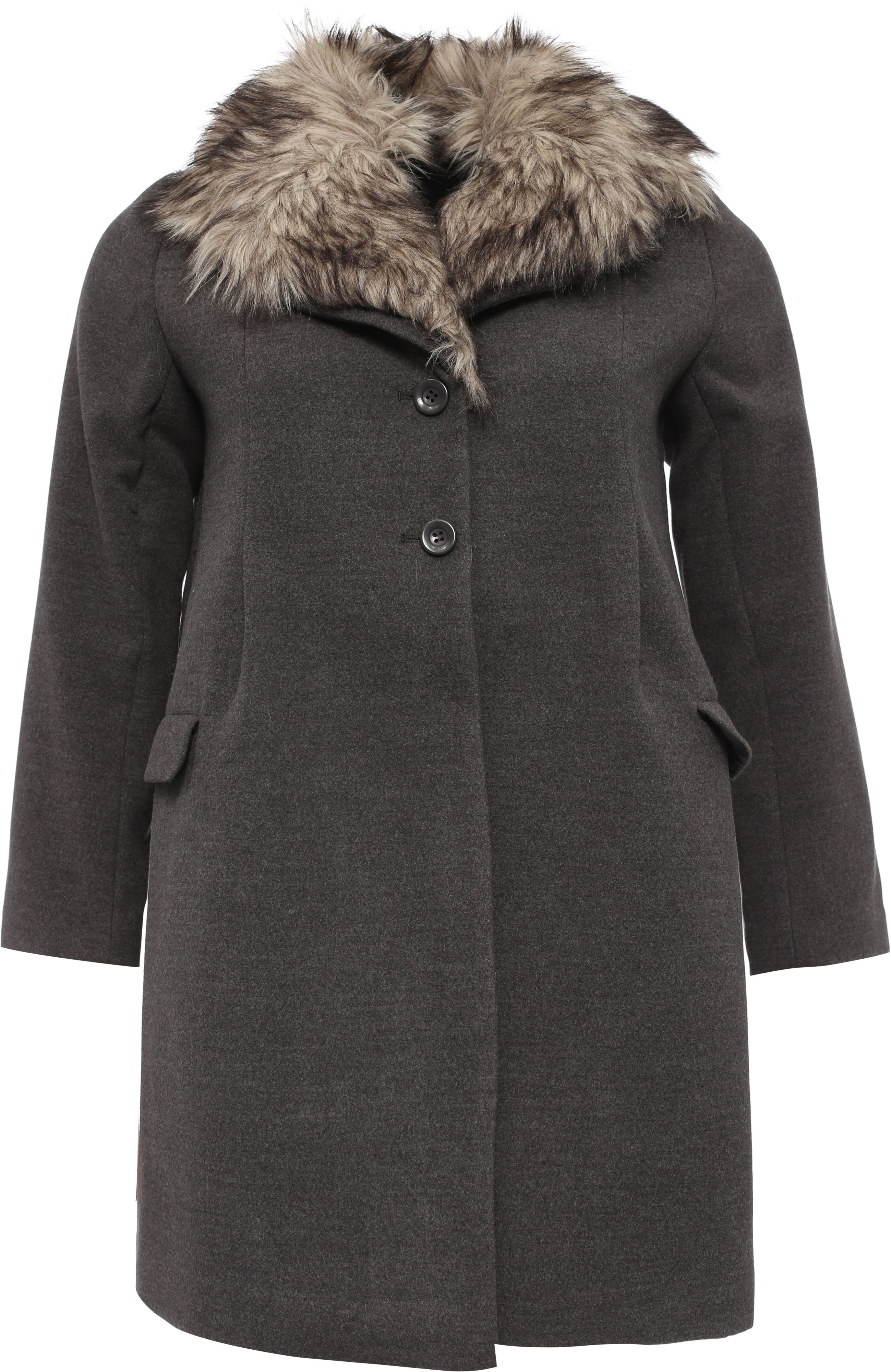 Lost Ink Curve Swing Coat With Fur Collar, Grey