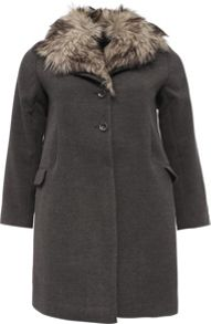 Lost Ink Curve Swing Coat With Fur Collar