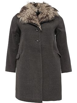 Curve Swing Coat With Fur Collar