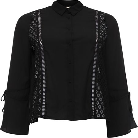 Lost Ink Curve Blouse With Lace Panel