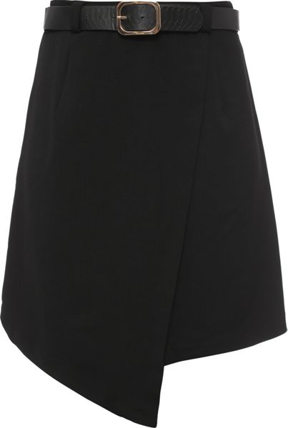 Lost Ink Curve Asymmetric Skirt With Belt