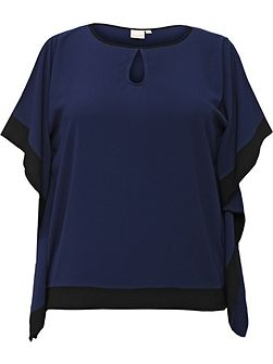 Curve Cold Shoulder Top With Contrast Trim