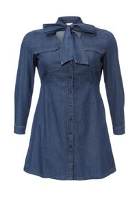 Just Joan Pussy Bow Tie Denim Dress
