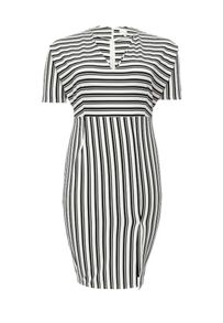 Lost Ink Curve Striped Pencil Dress with Split front