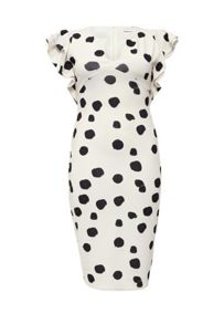 Lost Ink Curve Spot Printed Pencil Dress with Frill Sleeves