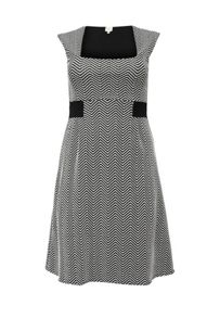 Lost Ink Curve Fit & flare dress in mono jacquard