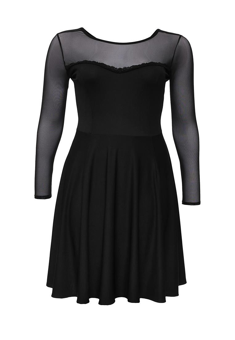 Just Joan Just Joan Mesh Dress in a Skater Style, Black