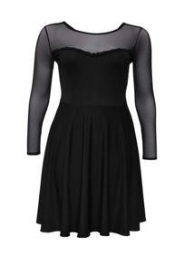 Lost Ink Curve Mesh Dress in a Skater Style