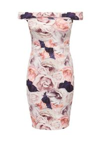Just Joan Rose Print Bardot Pencil Dress