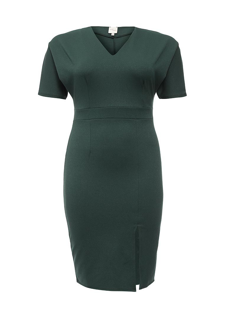 Just Joan Just Joan Pencil Dress with Splirt Front, Green