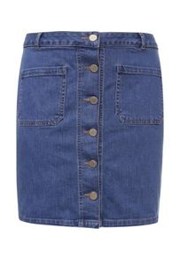 Lost Ink Curve Pocketed Denim Skirt