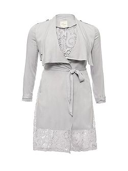 Waterfall trench coat with lace