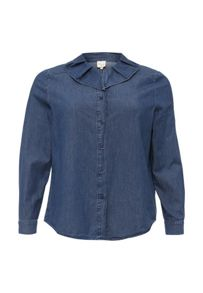 Lost Ink Curve Ruffle and Pleat Collar Denim Shirt
