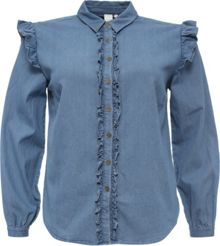 Lost Ink Curve Denim Frill Shirt