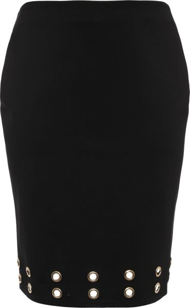 Lost Ink Curve Pencil Skirt With Eyelets