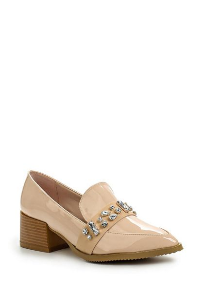 Lost Ink Bardot jewel trim loafers