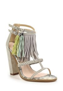 Lost Ink Raise tassle trim block heel sandals
