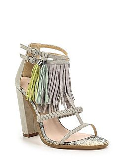 Raise tassle trim block heel sandals