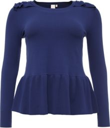 Lost Ink Curve Knitted Peplum Top With Frill
