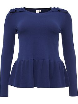 Curve Knitted Peplum Top With Frill