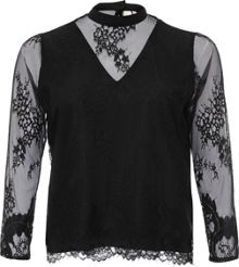 Lost Ink Curve High Neck Lace Top