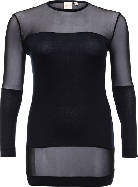 Lost Ink Curve Tunic With Mesh Panels
