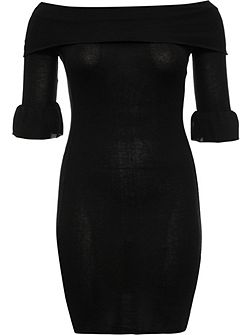 Curve Knitted Rib Bardot Dress