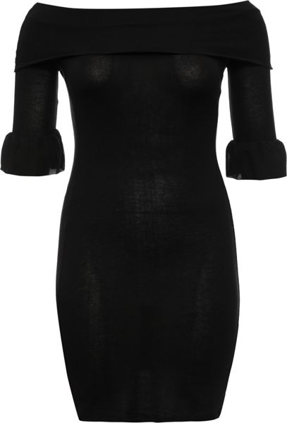 Lost Ink Curve Knitted Rib Bardot Dress
