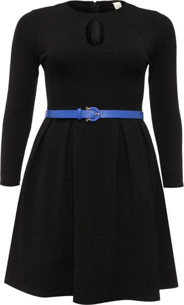 Lost Ink Curve Textured Jersey Skater Dress With Belt