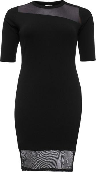 Lost Ink Curve Bodycon Dress With Mesh Panel